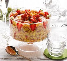 Strawberry cointreau trifle