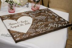 This is a great alternative for a guest book and can be customized to match your wedding colors. Guests can easily sign on the wood surface using Sharpie markers or various paint pens leaving you with a wonderful keepsake! Listing is for: Choice of either 16x24 or 16x36 wooden sign Size varies by number of guests your expecting to sign A 16x24 holds around 100-125 signatures  **The back is unfinished and does NOT come with hangers unless requested**   At check out, in the notes to seller…