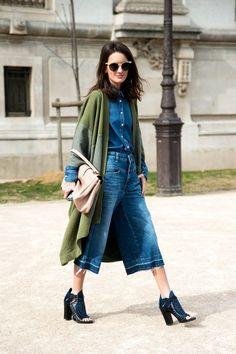 женская юбка-штаны из денима с каблуками