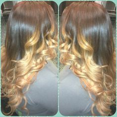 Red to copper blond ombre