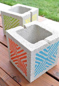 DecoArt Blog - Crafts - Stenciled Concrete Block Planters