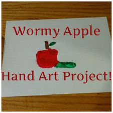 Handprint Apple and Worm Art