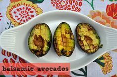 Grilled Balsamic Avocados - I served these with grilled Romaine, Feta and crispy bacon bits.more balsamic. Avocado Recipes, Veggie Recipes, Wine Recipes, Appetizer Recipes, Great Recipes, Favorite Recipes, Baked Avocado, Appetizers, I Love Food