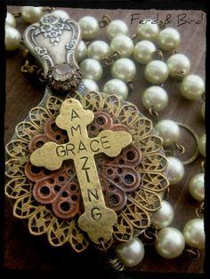 Handmade Spoon Jewelry Christian Cross Jewelry by Ferd and Bird