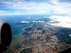 The Bird Eye view of Kota Kinabalu, Sabah Malaysian Borneo. Kota Kinabalu, Birds Eye View, Borneo, Airplane View, Tours, Spaces, Holiday, Vacations, Holidays