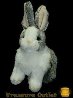 Inter-American Products Stuffed Plush Grey Gray White Bunny Rabbit 9.5in