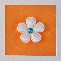 Birthday Card, for her, mum, friend, wife, sister, daughter, girlfriend, white satin flower & gem on orange, modern, contemporary, cute