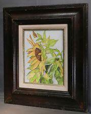 Vintage Mid Century Modern Original Painting Sunflower 1960s BOLD Still LIfe