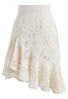 Paradisiacal Asymmetric Frill Hem Lace Skirt in Ivory- New Arrivals - Retro, Indie and Unique Fashion