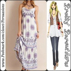 "NWT Boho Medallion Print Ruffle Hem Maxi Dress Available in sizes: S, M, L  Size: Medium  LAST MEDIUM IN STOCK  Measurements taken in inches:  Length: 60"" Bust: 30"" (unstretched; is elasticized; stretches to approximately 38.5"") Waist: 39""  Hips: 44"" Sleeveless   Featuring:  • medallion print   • ruffled bottom • elasticized at back • empire waistline (elasticized) • adjustable straps • lined; non-sheer • woven; lightweight  Colors: Off White, Navy, Blue, Red  100% Rayon  Bundle discounts…"
