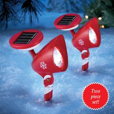Solar Snowflake Candy Cane Spotlights- Set of 2