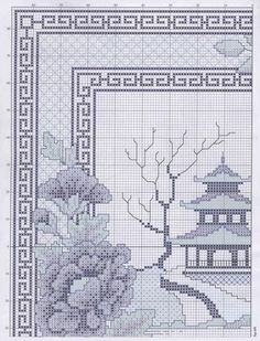 Blue Garden Temple 4: Solo Patrones Punto Cruz (pág. 2) | Aprender manualidades es facilisimo.com
