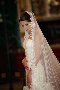 Silk mantilla wedding veil Chanell.