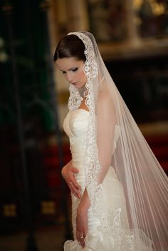 Chanell silk Lace wedding veil