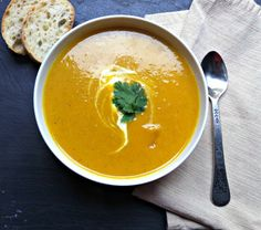 Curried Coconut Butternut Squash Soup--warm and flavorful soup for winter.