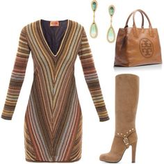 A fashion look from September 2012 featuring striped dress, brown knee high boots and post earrings. Browse and shop related looks. Fashion 101, Fashion Books, Womens Fashion, Fashion Ideas, Fashion Outfits, Fashion Killa, Ladies Fashion, Trendy Fashion, Girl Fashion