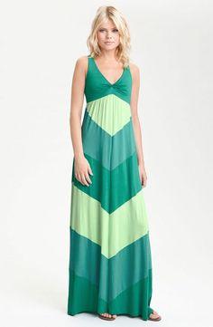 Ella Moss 'Celia' Racerback Colorblock Maxi Dress - Chevron - Green