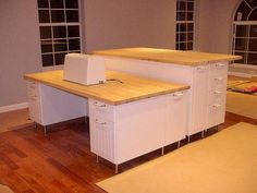 Awesome modification of Ikea stuff.  I'd love a high-lo table for crafting and sewing.