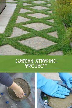 Amazing DIY Garden Stepping Stone Ideas #diygardenstones Landscape Stepping Stones, Pallet Home Decor, Weed Barrier, Garden Steps, Outdoor Living, Outdoor Decor, Amazing Gardens, Grass, Living Spaces