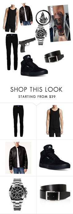 """Dauntless Boy"" by coconutmoon ❤ liked on Polyvore featuring GAS Jeans, Topman, Control Sector, Levi's, Supra, Rolex, BOSS Hugo Boss, Smith & Wesson, men's fashion and menswear"