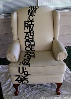DIY typography chair using thrift store chair, upholstery spray, and vinyl letters