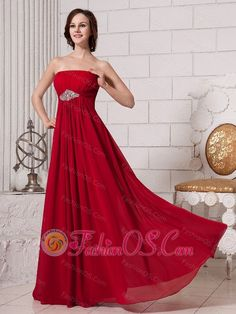 Wine Red Empire Strapless Beaded Chiffon Custom Made Prom Gowns  http://www.fashionos.com/  http://www.facebook.com/quinceaneradress.fashionos.us  Soft pleats throughout the dress creates a dramatic look. The sassy and dainty red prom dress features a strapless neckline and sharped beads on the middle of the bodice. A zipper up finishes the look. The floor length skirt with an empire waist flows beautifully with a loose fit that will make it easy to dance the night away.
