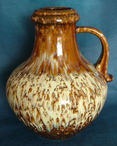 Large West German Scheurich Keramik Bottle Shaped Vase No. 423-28 in Brown and Cream