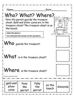 Pirates: Who? Reading Comprehension (Cut and Paste) Reading Resources, Reading Activities, Preschool Activities, Teaching First Grade, First Grade Reading, Pirate Words, 2nd Grade Reading Comprehension, English Grammar For Kids, Subject And Predicate