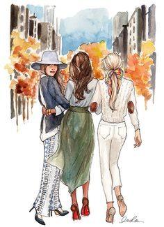 Away we go by inslee illustration sketches, illustration fashion, fashion i Friends Drawing, Best Friend Drawings, Bff Drawings, Sketchbook Drawings, Art Sketches, Art And Illustration, Watercolor Illustration, Watercolor Art, Art Du Croquis
