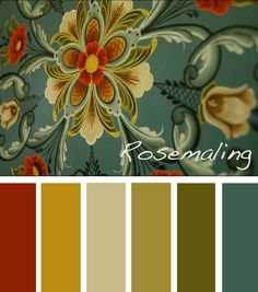 (like fall arch) Rosemaling color palette - like the blue being the most of it with great complementary colors. Love the rust in with the greens. Fall Color Palette, Colour Pallette, Colour Schemes, Color Combos, Paint Schemes, Green Palette, Vintage Colour Palette, Gold Color Palettes, Vintage Colors