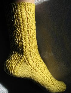 Goldilocks Clog socks: Baroque sock pattern on Knitty. Linked in Flickr photo.