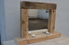 Rustic Dressing Table Mirror has been hand crafted from reclaimed/recycled wood. The dimensions: Solid base 54cm, Height 40cm, Width 42cm. It is