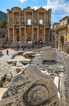The Library of Celsus, Ephesus Turkey -This ancient city is an amazing place to explore for a day.