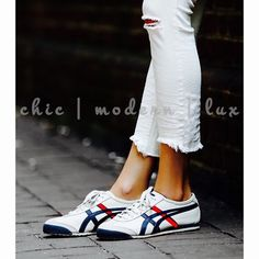 $20off now || ASICS Sneakers Mexico 66 Onitsuka Women's iconic Mexico 66 was born in 1966 and debuted at the 1968 Olympic games pre-trials in Mexico-a premium white leather, stitched w/red,blue tiger stripes. full-grain leather treatment on side panels and tiger stripes, while the heel & toecap are finished off with a smooth suede, accompanied by a natural leather heel tab, branded with the Onitsuka Tiger emblem.$158 MEXICO 66 D507L-0152 WHITE/DARK BLUE FULL GRAIN LEATHER UPPER. DIFFICULT…