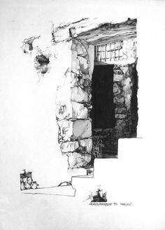 A section of the monastery at Preveli on Crete. <carnegie@mweb.co.za> Old Buildings, Crete, Entrance, Illustrations, Doors, Architecture, Antiques, Painting, Arquitetura