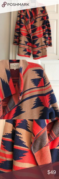 RACHEL ROY TAN NAVY & ORANGE LONG SWEATER COAT Gorgeous long sweater coat.. Cotton/Acrylic blend..Side pockets.. in excellent condition. Size XL. This also works for a Large who likes a bit of an oversized look. RACHEL Rachel Roy Sweaters