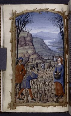 Pruning of the vines. 1500. Book of Hours, Spencer Collection.
