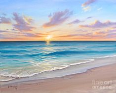 Seascape Painting - Sunrise Splendor by Joe Mandrick Beach Sunset Painting, Abstract Ocean Painting, Sunrise Painting, Sky Painting, Seascape Paintings, Cool Paintings, Landscape Paintings, Planet Painting, Watercolor Paintings