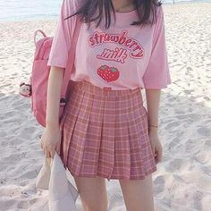 Buy Pink girl Series Strawberry Milk Graphic Summer Fashion Cotton Casual Tops Korean Style Girl Funny Hipster Short Sleeves Kawaii Cute at Wish - Shopping Made Fun Pastel Outfit, Pink Outfits, Mode Outfits, Cute Casual Outfits, Retro Outfits, Fashion Outfits, Grunge Outfits, Pastel Fashion, Kawaii Fashion