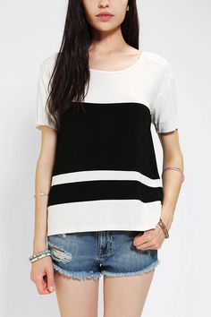 Love the black and white colorblock look lately!!!!  Sparkle & Fade Mix-Fabric Colorblock Tee