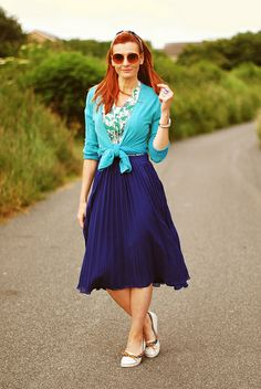 Blue pleated skirt with jade green & Sperrys by Not Dressed As Lamb