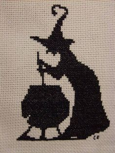 Halloween The Leaky Cauldron - NEEDLEWORK - the pattern is for cross stitch, but it would work well with filet crochet, as well. Halloween Quilts, Halloween Cross Stitches, Halloween Crochet, Halloween Embroidery, Cross Stitching, Cross Stitch Embroidery, Embroidery Patterns, Cross Stitch Patterns, Filet Crochet