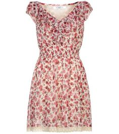 Pink Rose Print Ruffle Front Dress