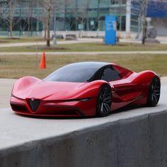 Alfa Romeo thesis project by Fadi Hannawa from the Lawrence Tech University (USA) Luxury Sports Cars, Top Luxury Cars, Exotic Sports Cars, Maserati, Nissan Gt R, Alfa Romeo Cars, Lamborghini Cars, Super Sport Cars, Futuristic Cars