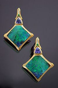22K Gold, Boulder Opal Splits, Tanzanite, Tsavorite Garnet and Diamond Earrings by Athenae Inc