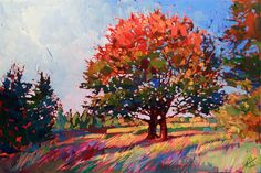 ARTFINDER: Frosted Oak by Erin Hanson - Richly textured oil on wrapped canvas. Depiction of California oak tree in vivid colors.