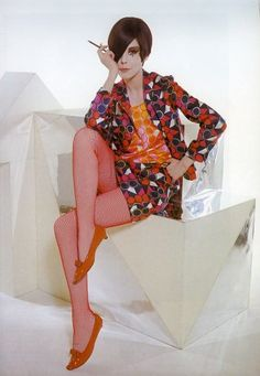 Peggy Moffitt in Rudi Gernreich Ensemble, photographed by William Claxton, 1966