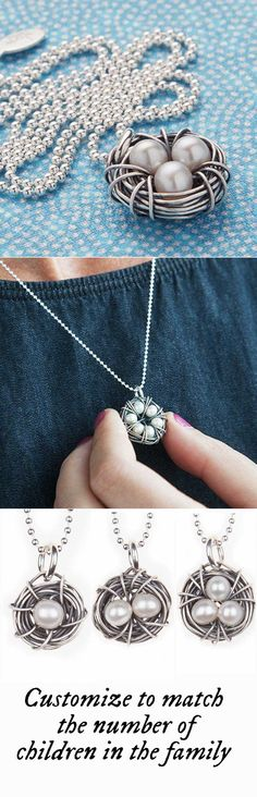 A beautiful keepsake for moms and grandmothers alike. Made of antiqued silver wire, each handcrafted nest is filled with freshwater pearls— one for each child in the wearer's heart—and set on a sterling silver ball chain.