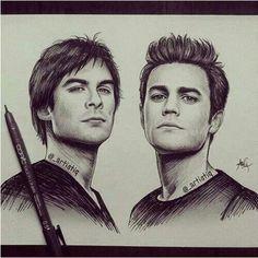 Stefan & Damon- Vampire Diaries whoever drew this is incredible