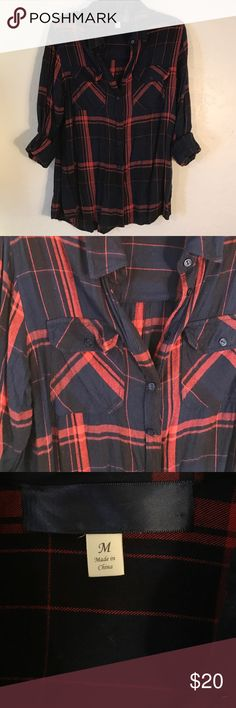 Navy blue & red button up flannel ➡️Navy blue & red button up flannel  ➡️Women's size medium ➡️Excellent condition  ➡️Super soft & comfortable 🚫NO TRADES🚫 💰Bundle discounts💰 ❤️Reasonable offers only please❤️ Tops Button Down Shirts